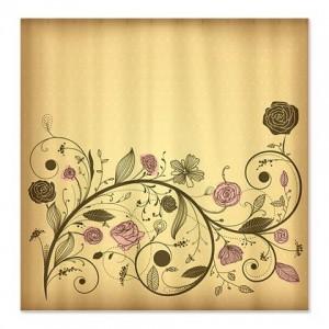 Antique Bronze Floral Shower Curtain
