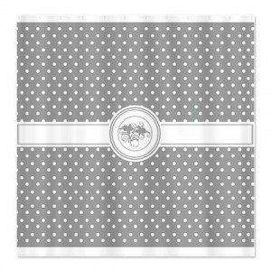 Ash Gray Floral Polka Dot Shower Curtain