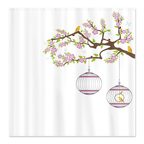 Birds Blossom Tree Shower Curtain
