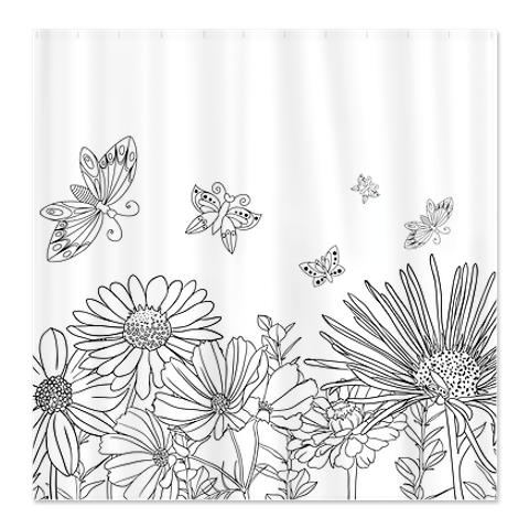 Black White 4B Shower Curtain