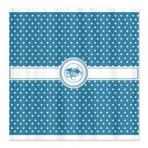 Caribbean Blue Floral Polka Dot Shower Curtain