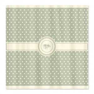 Cream On Dark Sage Floral Polka Dot Shower Curtain