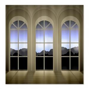 Dusky Twilight Mountain Landscape Window Shower Curtain