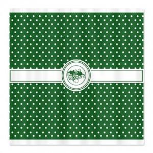 Emerald Green Floral Polka Dot Shower Curtain
