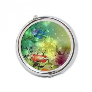 Fantasy Green Floral Round Pill Box