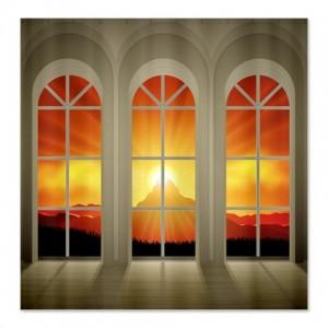 Fire Mountain Landscape Window Shower Curtain