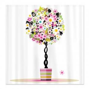 Floral Topiary Trees Pink Shower Curtain