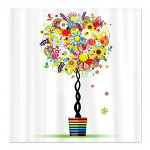 Floral Topiary Trees Rainbow Shower Curtain