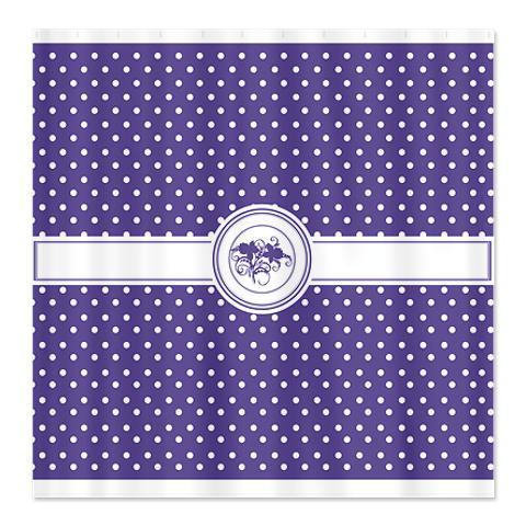 Fresh Lavender Floral Polka Dot Shower Curtain