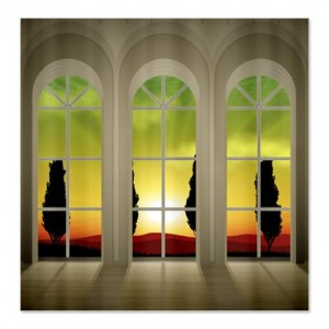 Sunset Guardian Trees Landscape Window Shower Curtain