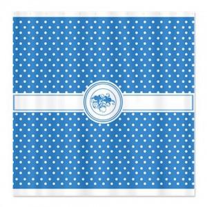 Hawaiian Blue Floral Polka Dot Shower Curtain