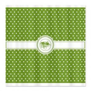 Jade Green Floral Polka Dot Shower Curtain
