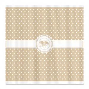 Latte Brown Floral Polka Dot Shower Curtain