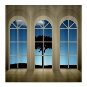 Window Lonely Tree Landscape Shower Curtain