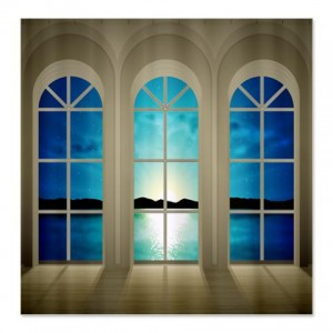 Mountain Sea Reflection Landscape Window Shower Curtain