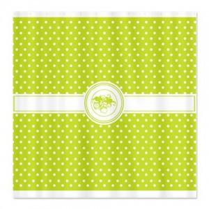 Peridot Green Floral Polka Dot Shower Curtain