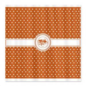 Pumpkin Orange Floral Polka Dot Shower Curtain