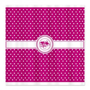 Pure Magenta Floral Polka Dot Shower Curtain