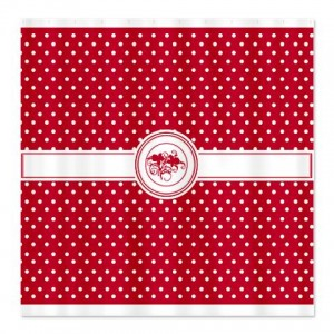 Pure Red Floral Polka Dot Shower Curtain