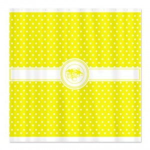 Pure Yellow Floral Polka Dot Shower Curtain