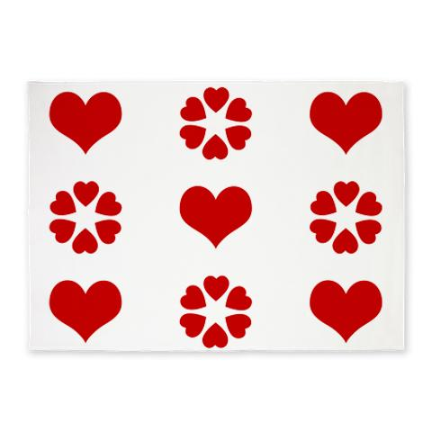 Red and White Hearts 2 5'x7'Area Rug