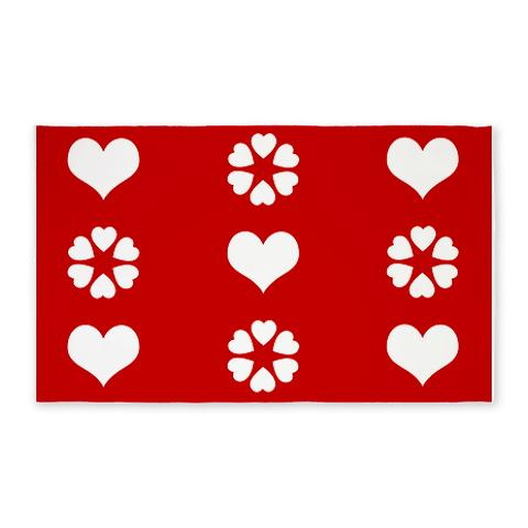 Red and White Hearts 3 3'x5' Area Rug