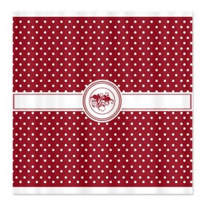 Ruby Red Floral Polka Dot Shower Curtain