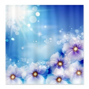 Sapphire Blue Floral Fantasy Shower Curtain