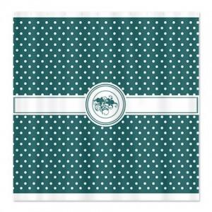 Seagreen Floral Polka Dot Shower Curtain