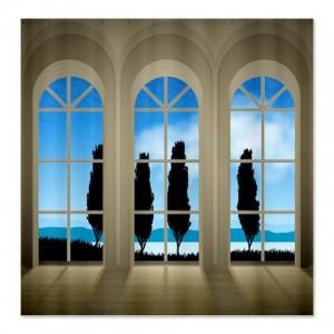 Window Sky Blue Landscape Shower Curtain