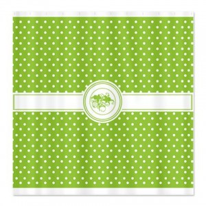 Sprout Green Floral Polka Dot Shower Curtain