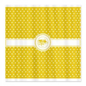 Sunshine Yellow Floral Polka Dot Shower Curtain