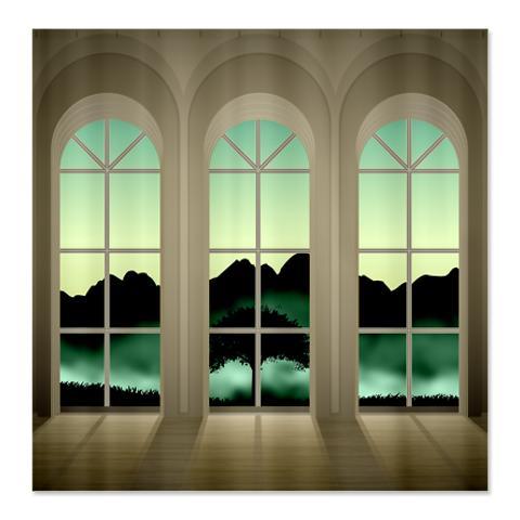 Twilight Landscape Window Shower Curtain