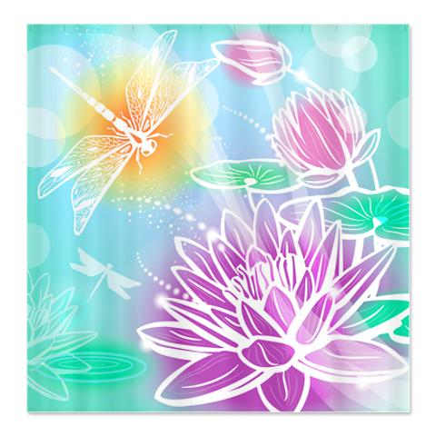 dreamy dragonfly lotus shower curtain