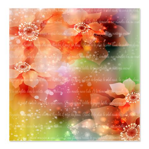 Dreamy French Rainbow Red Flower Poetry Shower Curtain