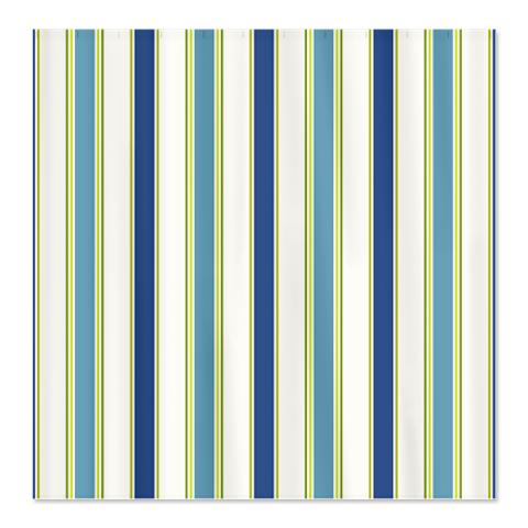 Blue Green White Stripes Shower Curtain
