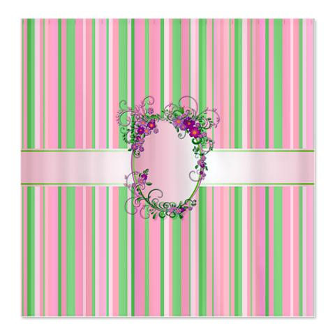 Pink, Green and White Stripes Shower Curtain