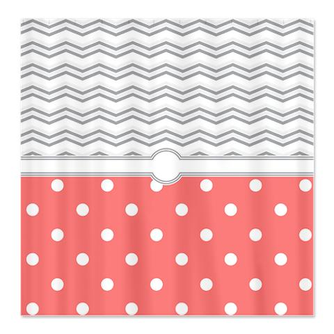 Polka Dot Salmon Pink Grey White Zigzag Shower Curtain