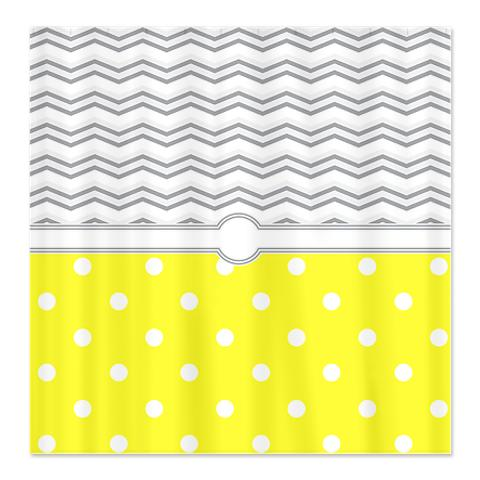 Polka Dot Yellow Grey White Zigzag Shower Curtain
