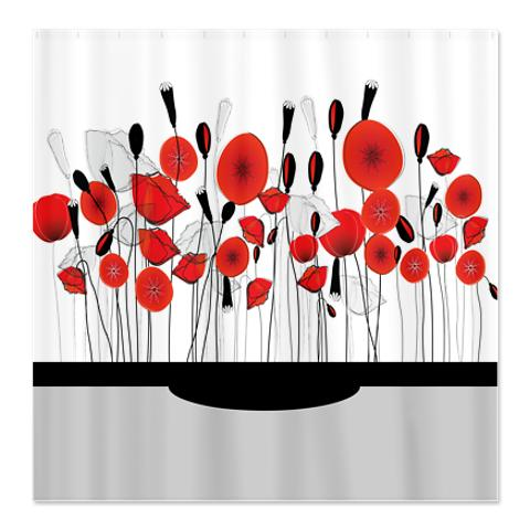 Pretty Whimsical Red Poppy Doodle 1b Shower Curtain