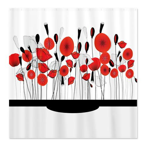 Pretty Whimsical Red Poppy Doodle Shower Curtain