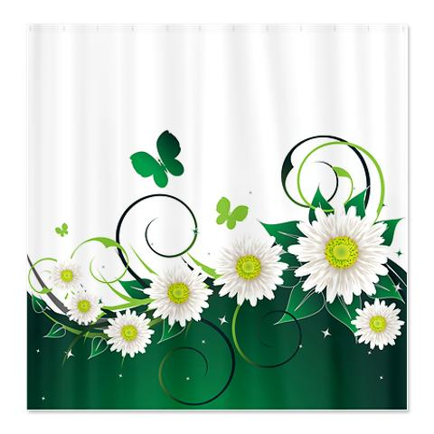 Spring Daisy Emerald Wave Shower Curtain