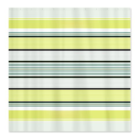 Yellow, Blue, White, Black Striped Shower Curtain