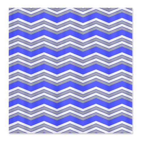 Zigzag Blue, Grey and White Shower Curtain