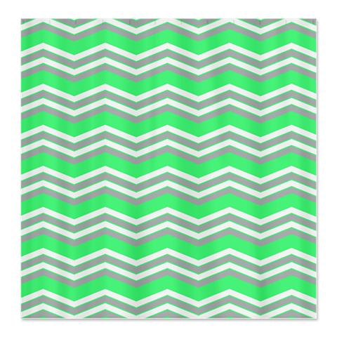 Zigzag Green, Grey and White Shower Curtain