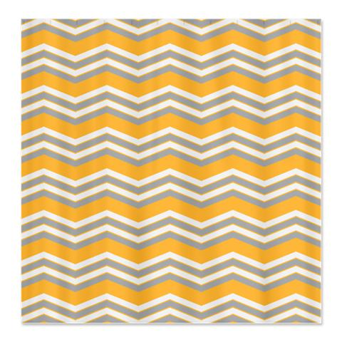 Zigzag Orange Grey And White Shower Curtain