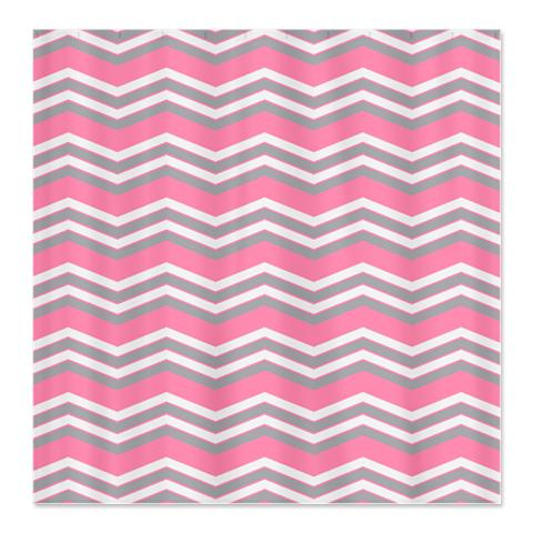 Zigzag Pink Grey And White Shower Curtain