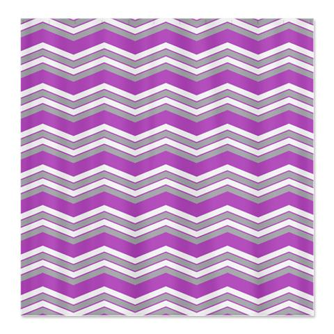 Zigzag Purple, Grey and White Shower Curtain