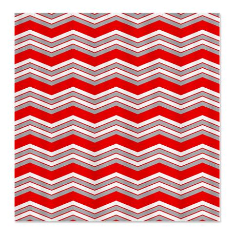 Zigzag Red, Grey and White Shower Curtain
