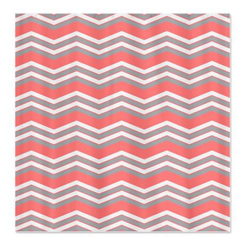 Zigzag Salmon Pink, Grey and White Shower Curtain
